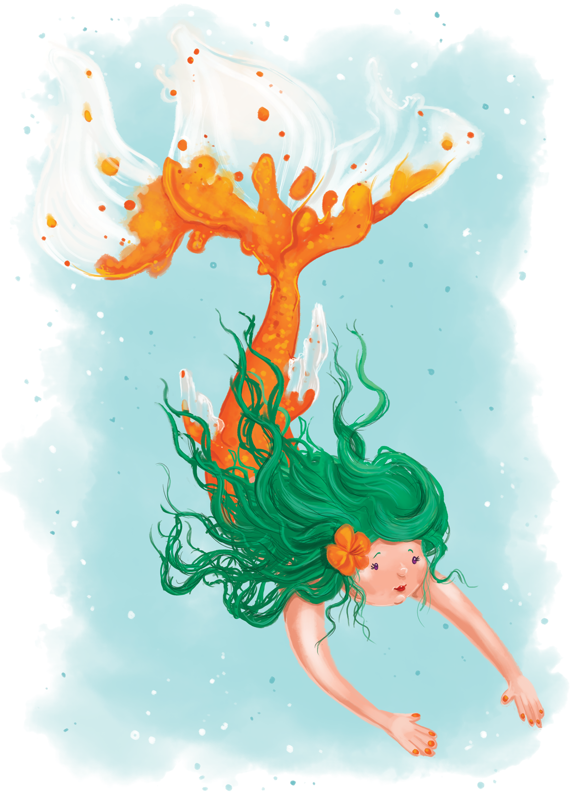 Rowena Aitken Illustration | Fantasy | Orange Mermaids